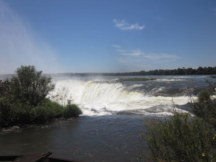 First glimpse of the actual waterfalls Puerto Iguazu, Argentina, Jan 2014